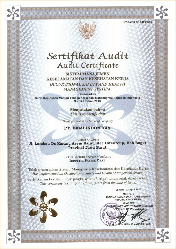 Certificate of Occupational Safety and Health Management System
